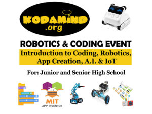 Kodamind Coding and robotics event poster